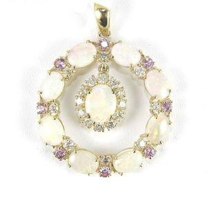 Jewelry - Opal, Purple Sapphire & Diamond Pendant YG 9.41Ct